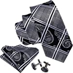 Barry.Wang Men Ties Paisley Woven Silk Necktie Set with Pocket Suqare