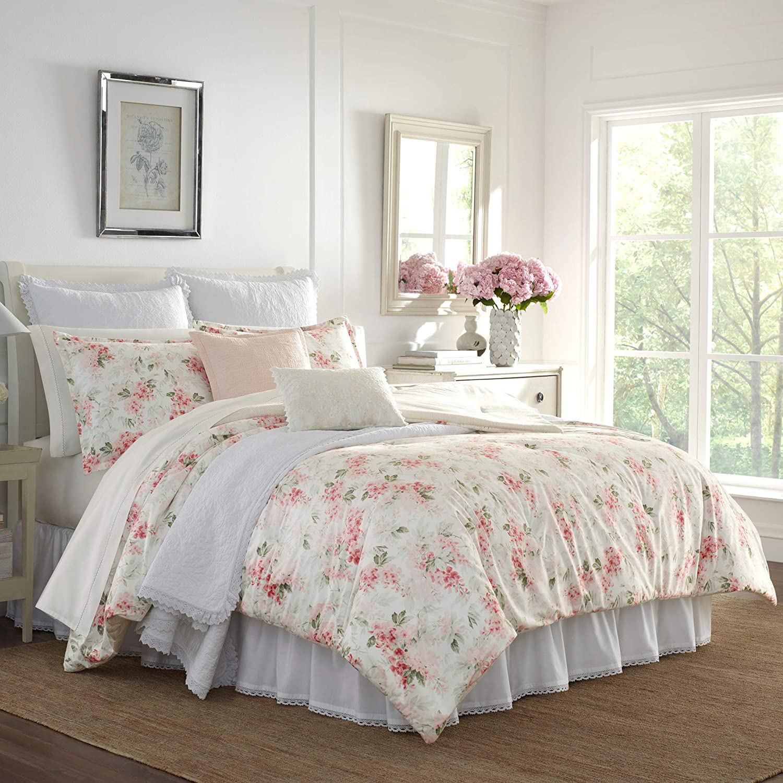 Laura Ashley Wisteria Comforter Set, Twin, Pink