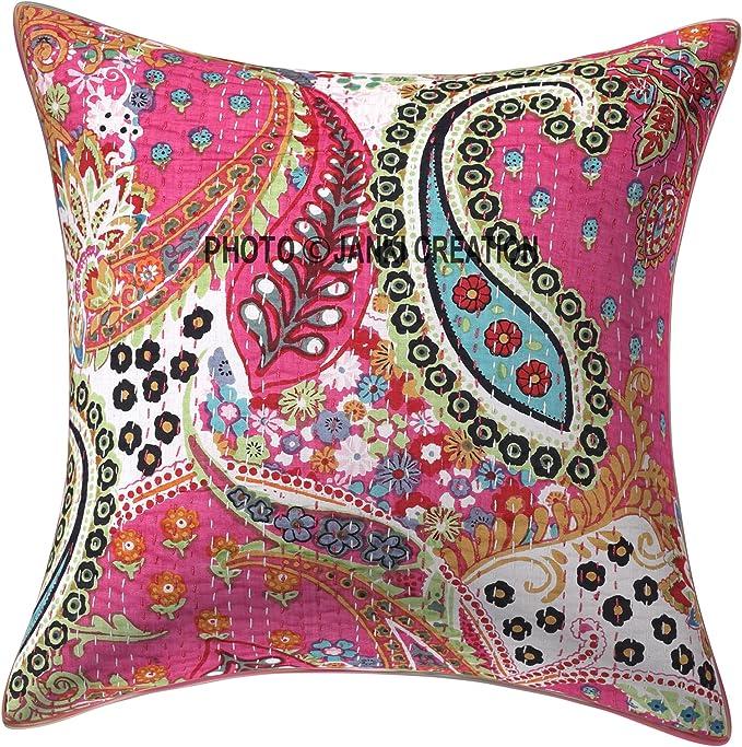 """20X12/"""" Kantha Cushion Cover Sofa Bed Throws Indian Handmade Cotton Pillow Sham"""