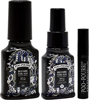 product image for Poo-Pourri Before You Go Toilet Spray Set, Includes Royal Flush 2 Ounce Bottle, 1.4 Ounce Bottle and 4ml Travel Size Disposable Spritzer