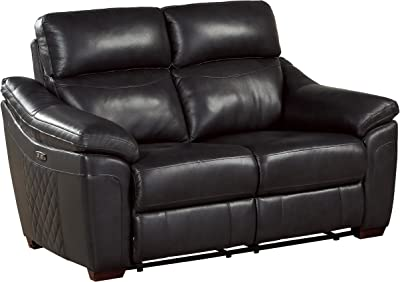 "Homelegance Renzo 65"" Power Double Reclining Love Seat, Dark Gray Leather"
