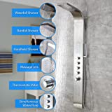 "Decor Star 004-SS 63"" Stainless Steel Rainfall Waterfall Shower Panel Tower Rain Massage System Thermostatic Faucet with Jets & Hand Shower, cUPC"