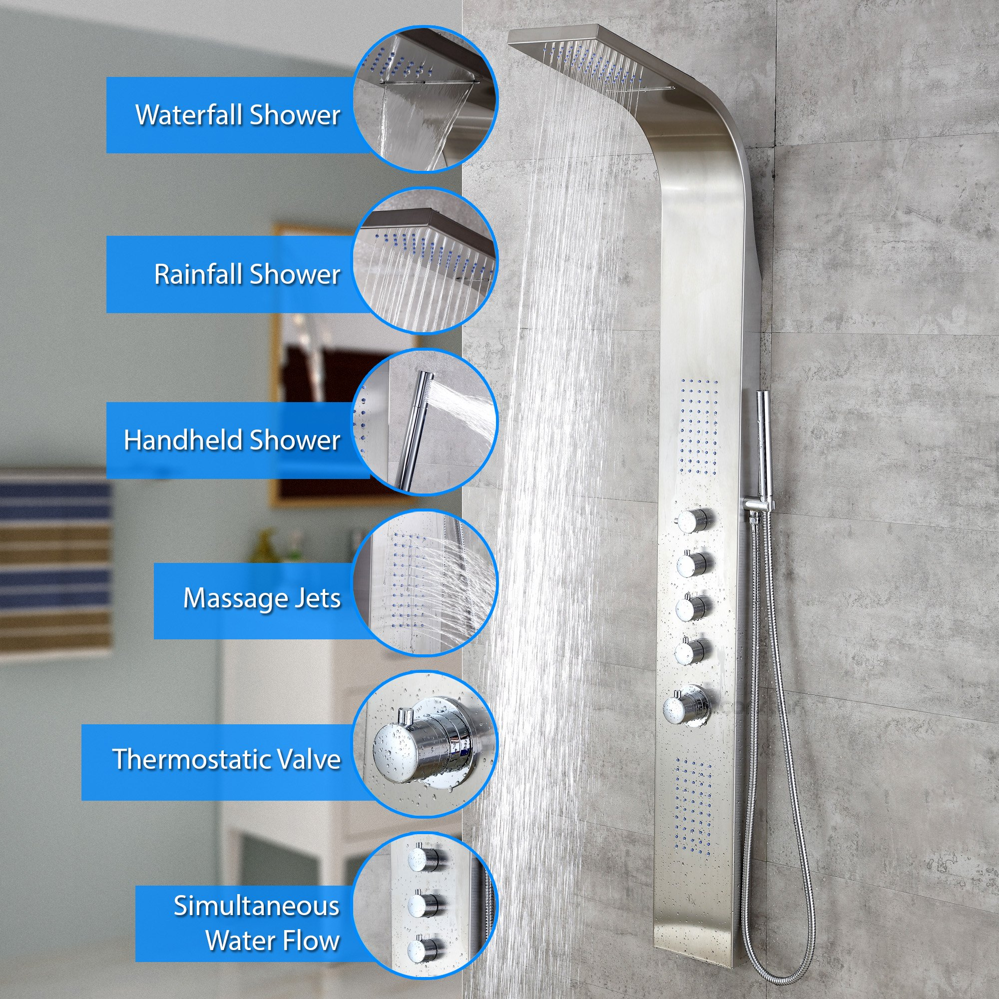 Decor Star 004-SS 63'' Stainless Steel Rainfall Waterfall Shower Panel Tower Rain Massage System Thermostatic Faucet with Jets & Hand Shower, cUPC