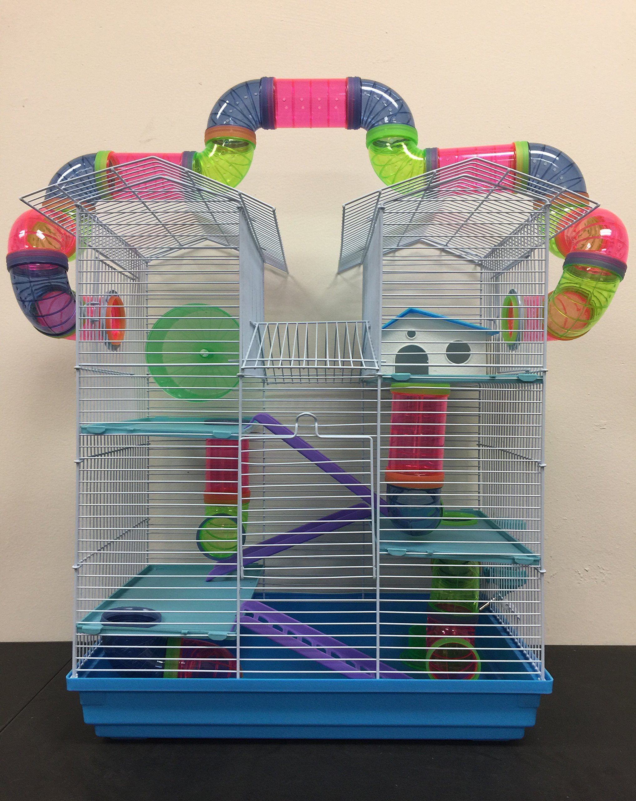 NEW Large Twin Towner Habitat Hamster Rodent Gerbil Mouse Mice Rat Wire Animal Cage Long Crossing Tube