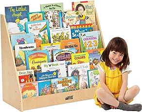 ECR4Kids Estante de exhibición para libros de madera de abedul para niños pequeños o infantes, color natural, Un solo lado, Natural, 41.3 cm (alto) x 32.4 cm (ancho) x 18.4 cm