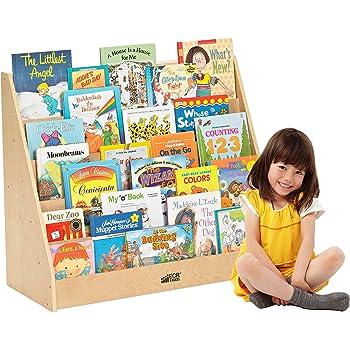 ECR4Kids Birch Single Sided Book Display Stand Wood Shelf Organizer For Kids 5 Shelves Natural