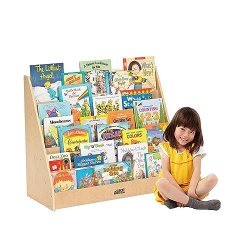 ECR4Kids Birch Single Sided Book Display Stand, Wood Book Shelf Organizer  For Kids,