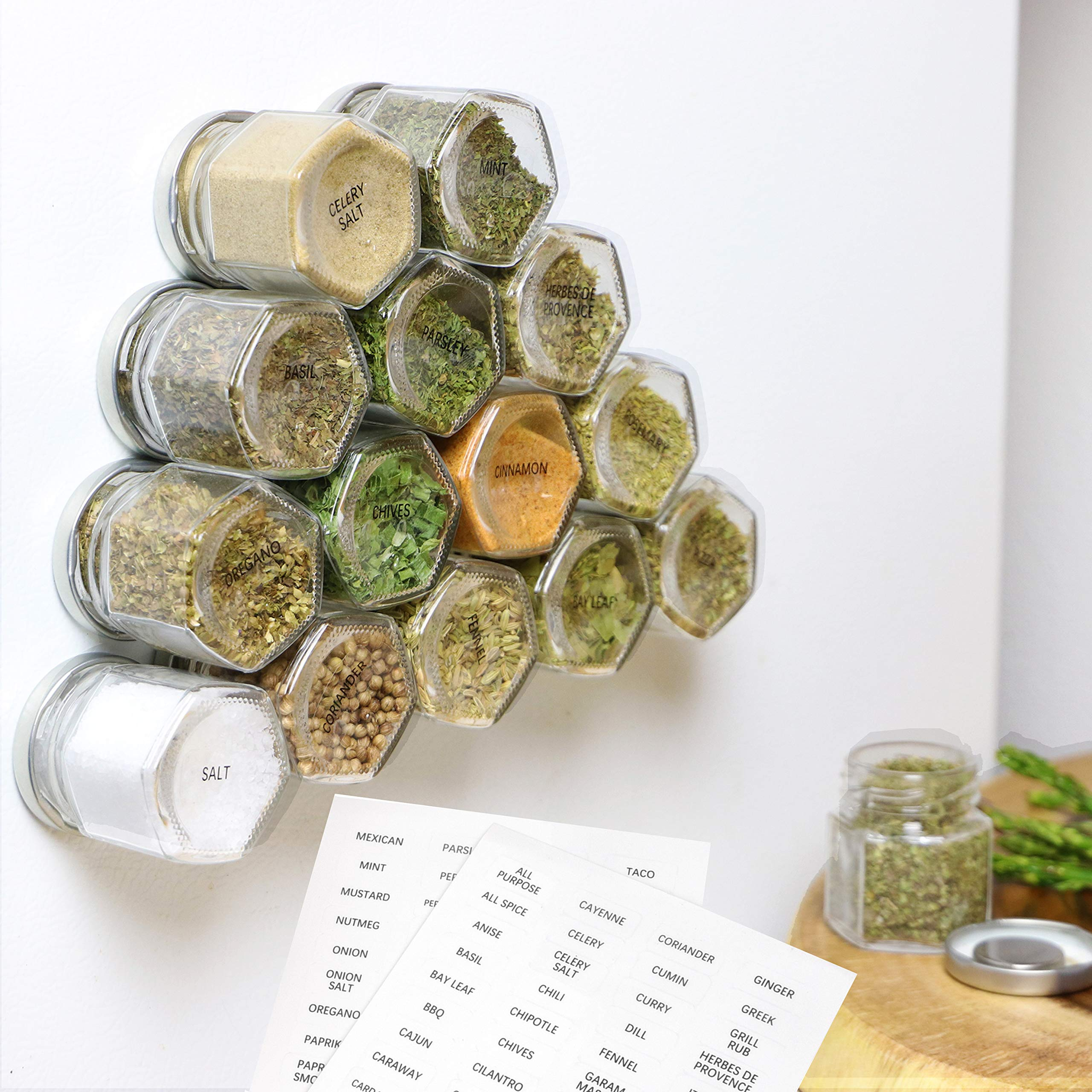 15-Pack Magnetic Spice Jars Hexagon Glass Spice Jars With Stainless Steel Strong Magnet Lids - Space Saving Storage For Dry Herbs And Spices - Great for Fridge, Backsplash and More by IMPRESA