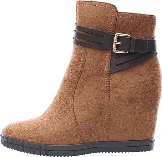 Femme Boots 9cm Chaussure Daim Compensé Aspect Bottines