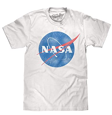 4e756305 Tee Luv Distressed NASA Shirt - Vintage NASA Meatball Logo T-Shirt (Small)
