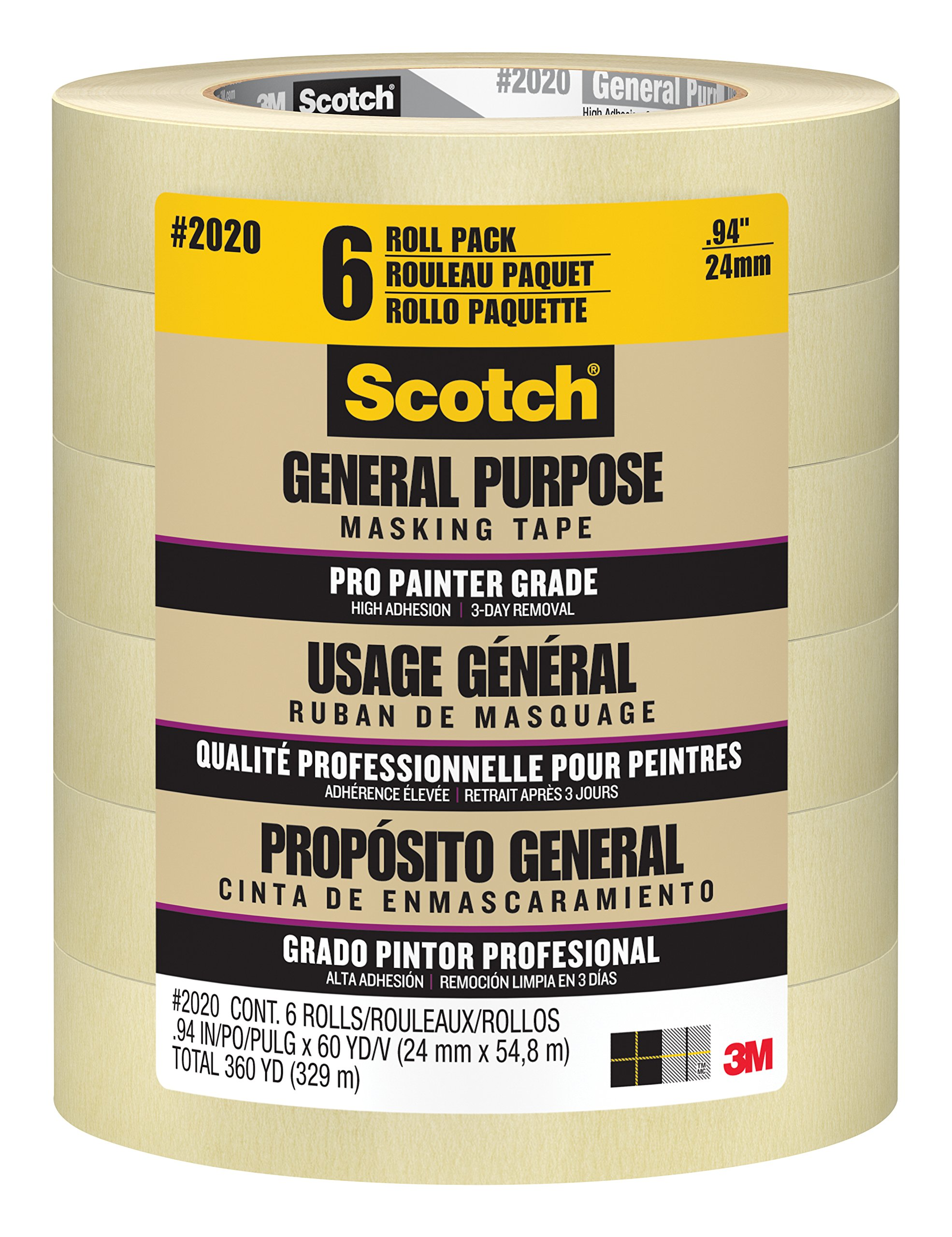 Scotch General Purpose Masking Tape, 2020-24E-CP, 0.94-Inch by 60.1-Yards, 6 Rolls