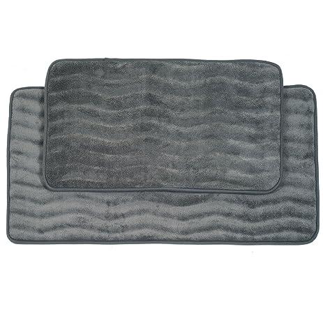 Amazoncom Lavish Home Piece Memory Foam Bath Mat Set Platinum - Memory foam bath rug set for bathroom decorating ideas