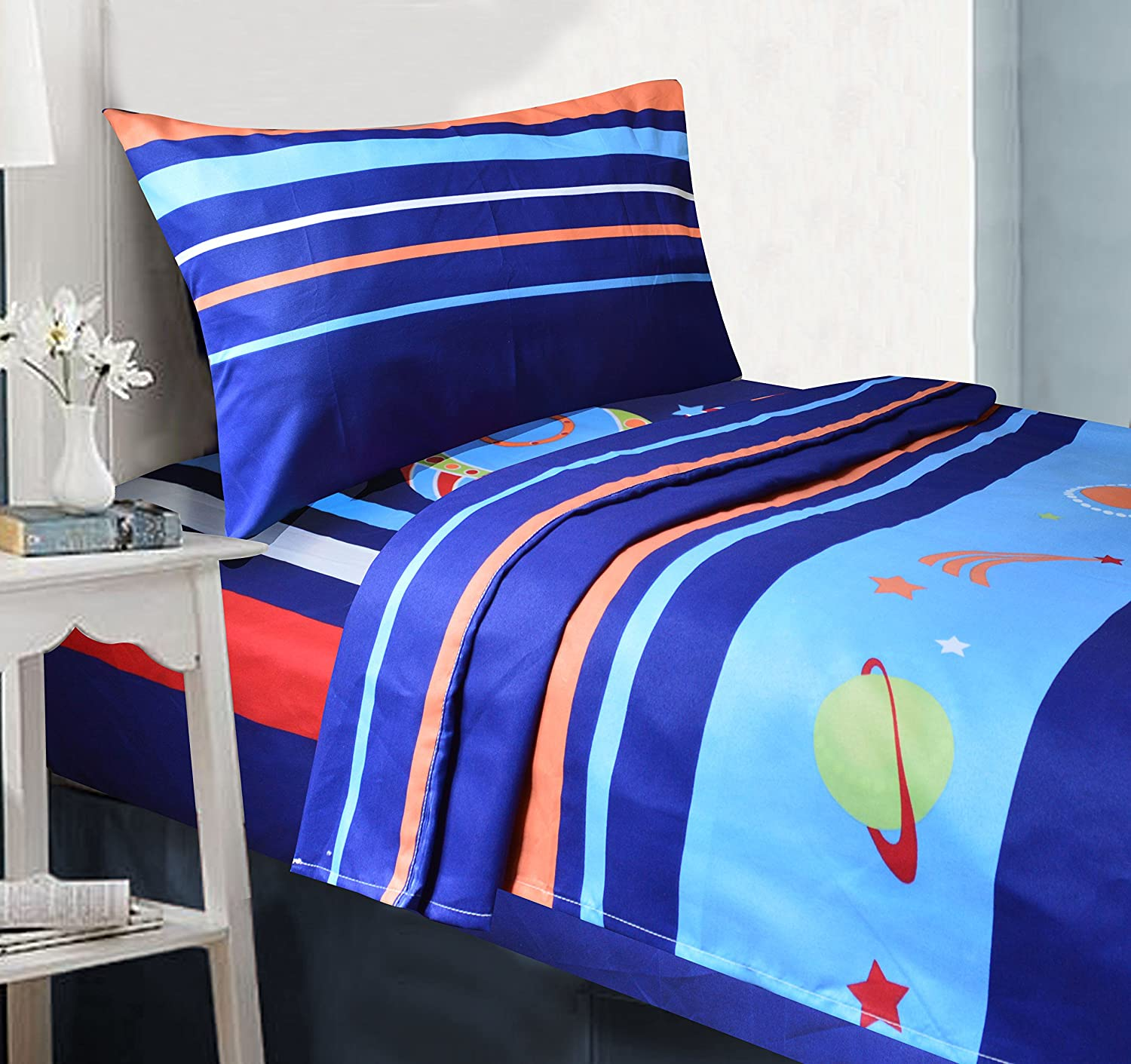 All American Collection 3 Piece Twin Size Rocket Ship Sheet Set, Matching Comforter Set and Curtain Set Available Sheet
