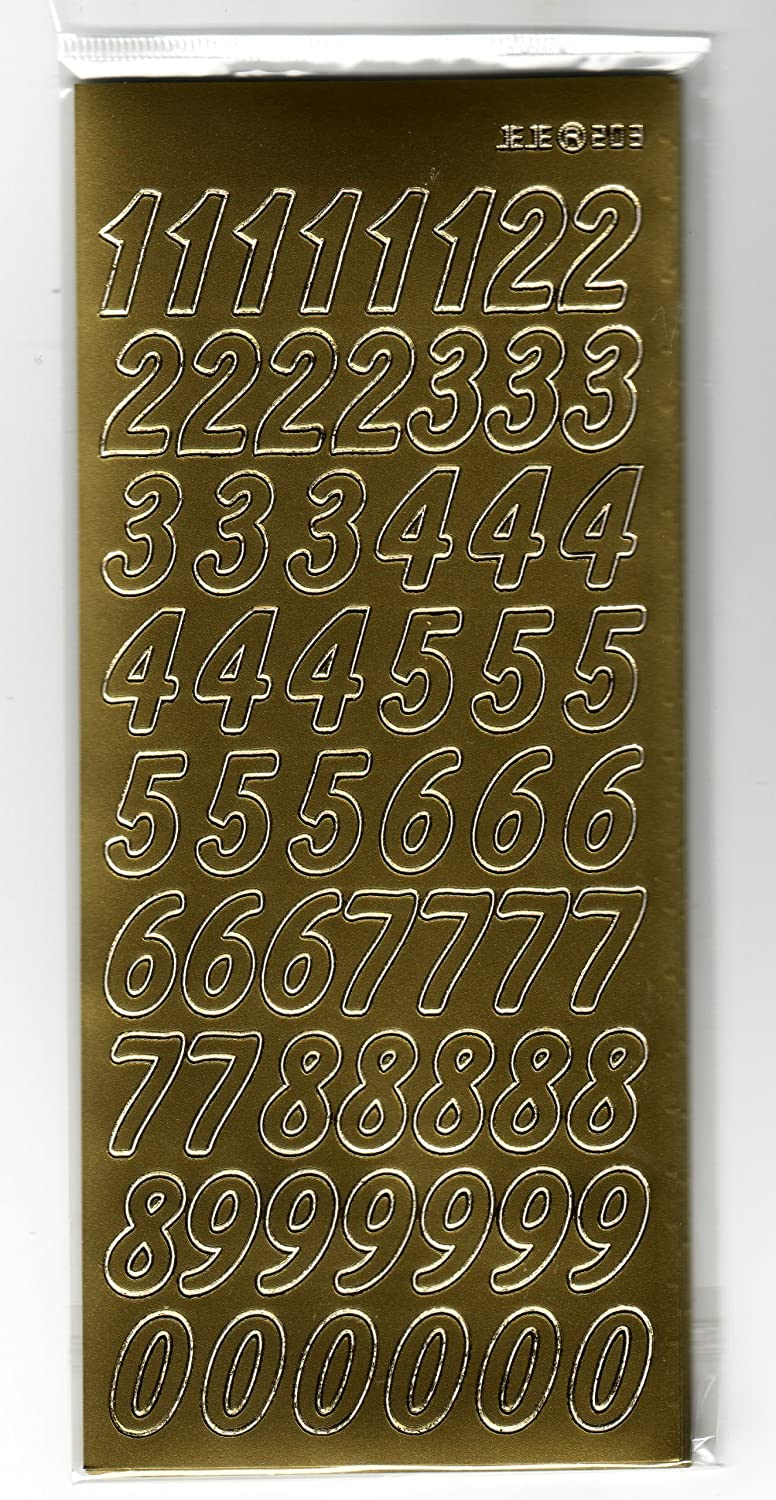 Anitas Outline Peel Off Craft Sticker Mixed Numbers Gold