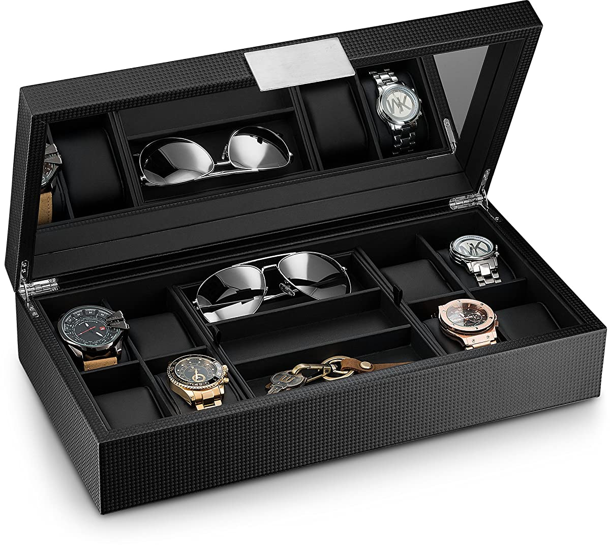 Glenor Co Watch and Sunglasses Box with Valet Tray for Men -14 Slot Luxury Display Case Organizer, Black Carbon Fiber Design for Mens Jewelry Watches, Mens Storage Holder w Large Mirror, Metal Buckle