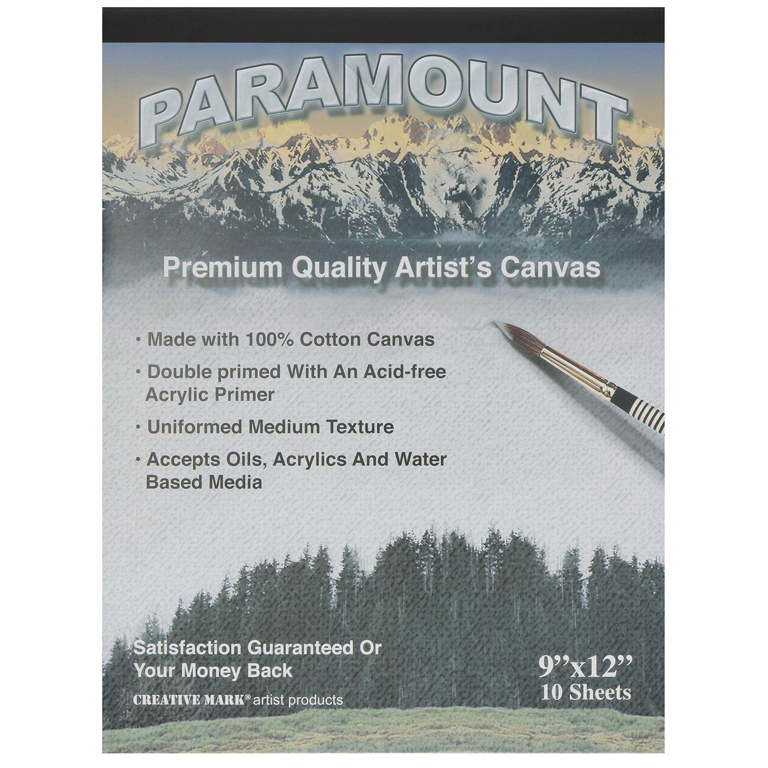 Paramount Artist Double Primed 100% Cotton Canvas Pad - Single Pad (10 Canvas Sheets) - 9'' x 12'' by Paramount