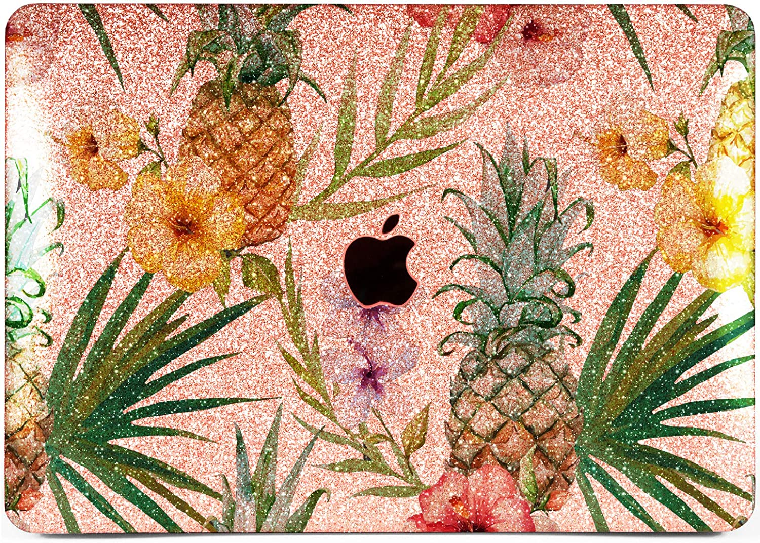 """Cavka Hard Glitter Case for Apple MacBook Pro 13"""" 2019 Retina 15"""" Mac Air 11"""" Mac 12"""" Bling Rose Gold Floral Flower Silver Hawaiian Print Cover Glossy Design Leaves Shiny Pineapple Sparkly Tropical"""