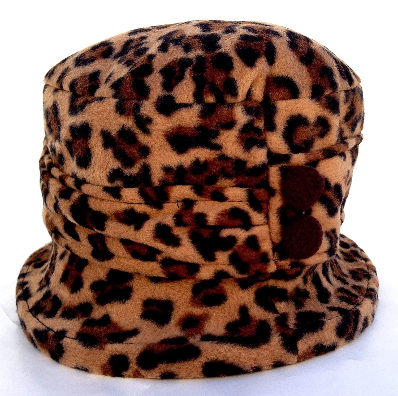 2c59d5c58f8 Amazon.com   Jeanne Simmons Women s Small Brim Polar Fleece Bucket Hat  (Brown Cheetah - Brown Button)   Beauty Products   Beauty