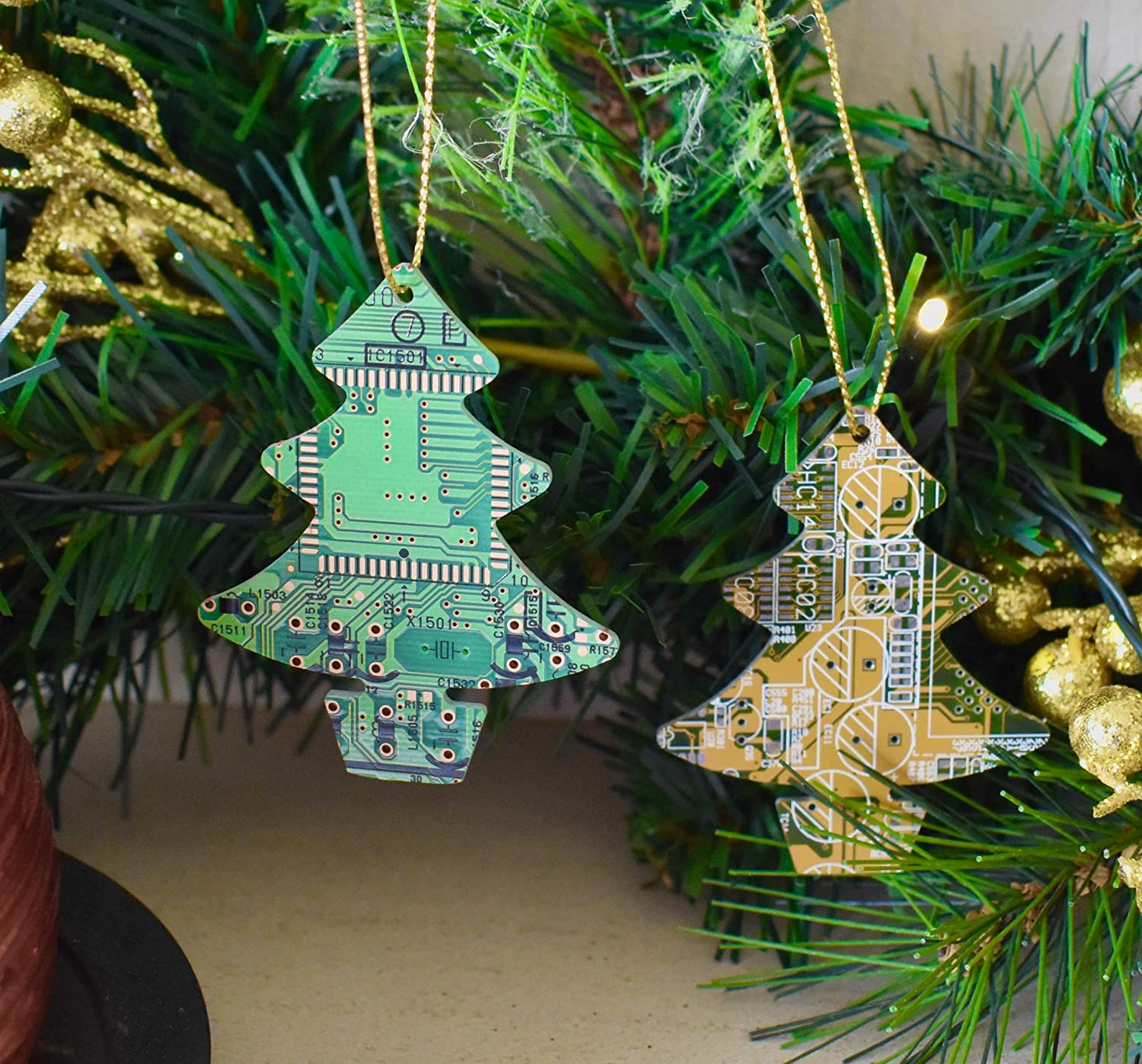 gift for computer geeks Green Christmas Tree Ornament recycled circuit board