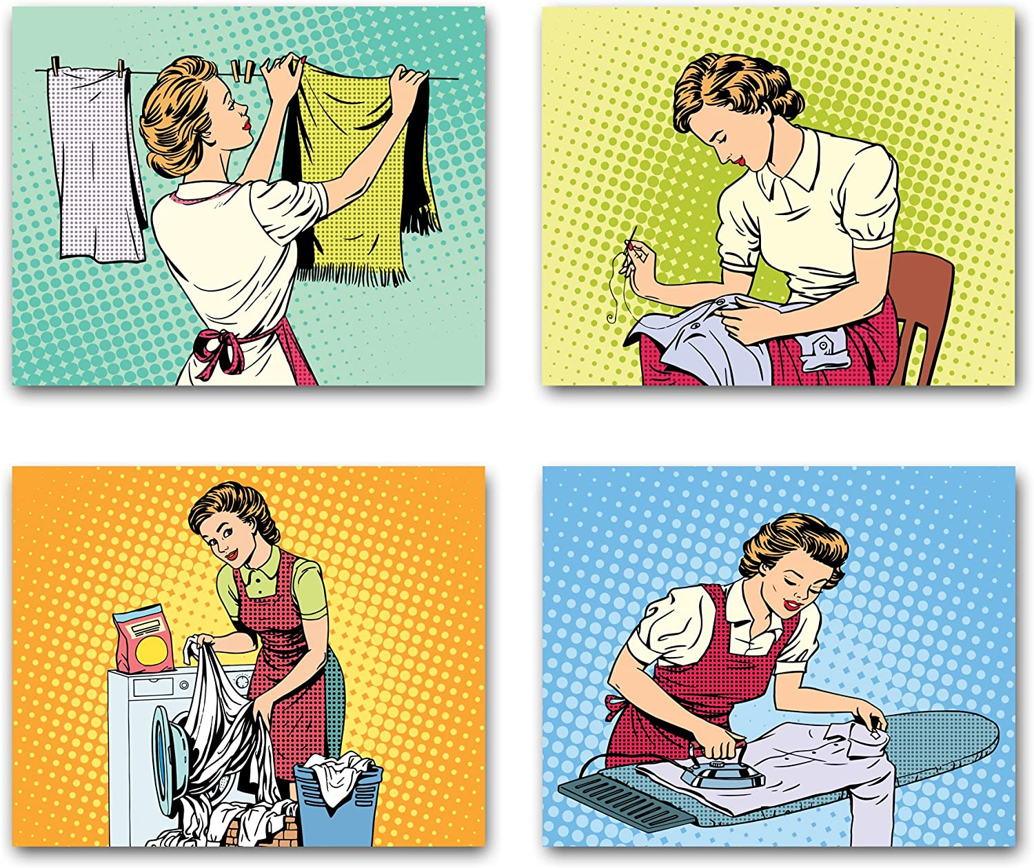 8x10 RETRO POP ART style wall decor posters. Set of 4 UNFRAMED housewife theme poster prints. Made in USA.