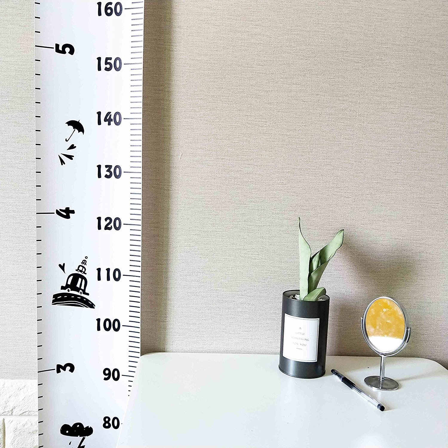 7.9 x 79in, Flamingo Wood Frame Fabric Canvas Height Measurement Ruler from Baby to Adult for Childs Room Decoration 7.9 x 79in Miaro Kids Growth Chart