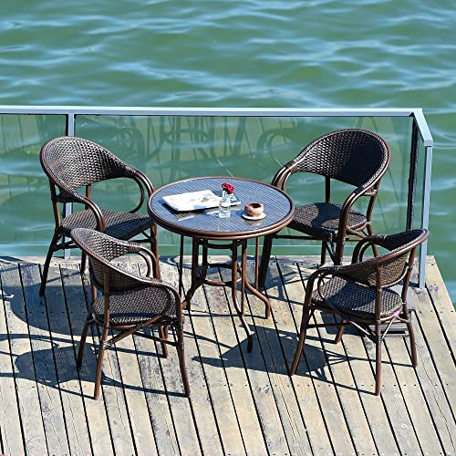 PURPLE LEAF French Patio Dining Set Rattan Aluminum Large Size 5 Piece