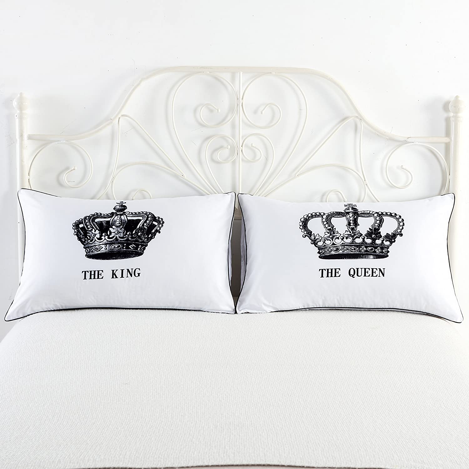Amazon.com: King and Queen Couples Pillow Cases,His Hers Pillowcases ...
