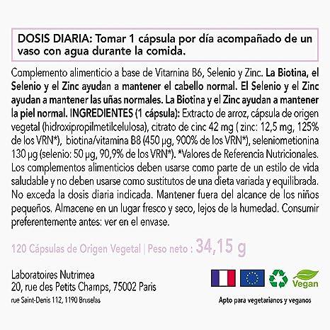 Biotina Zinc Selenio Crecimiento Cabello Barba Uñas Piel Vitamina Biotin Natural Complemento alimenticio Vegano Evitar Perdida de Cabello Anticaida Pelo ...