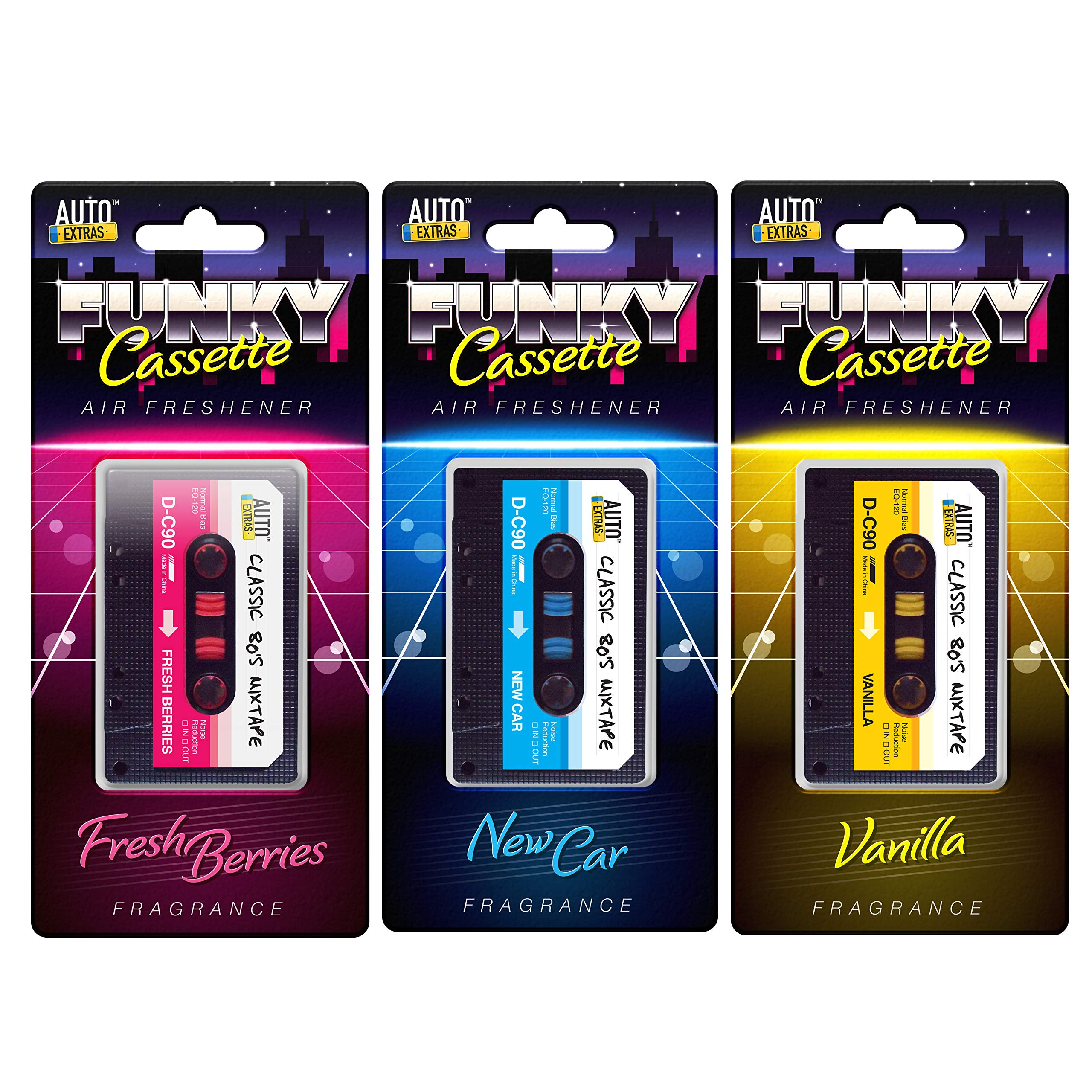 Auto Extas Retro Cassette Tape Car Air Freshener | Pack of 3 Novelty Car Freshener; Vanilla, Car, Fresh Berries