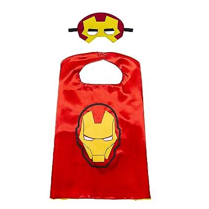 Kiddo Care 1 juego de Iron Man traje de superhéroe, máscara, capa, satén