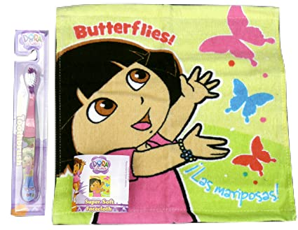 Dora the Explorer Face Wash Cloth & cepillo de dientes, regalo Ideal para niños/