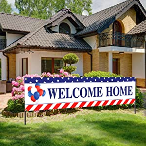 Welcome Home Banner Large Fabric Stars and Stripes Sign Banner Backdrop Background Deployment Retirement Banner for Patriotic Theme Deployment Returning Back Military Army Party Decoration