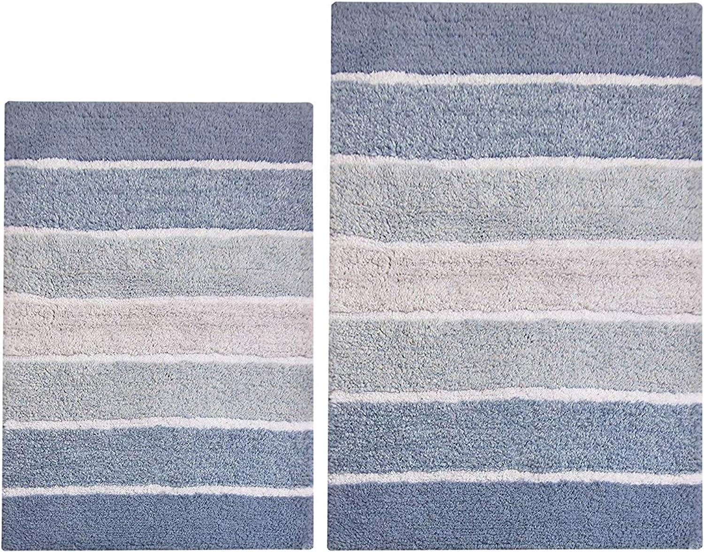 Amazon Com Chardin Home 100 Pure Cotton 2 Piece Cordural Stripe Bath Rug Set 21 X34 17 X24 Blues With Latex Spray Non Skid Backing Home Kitchen
