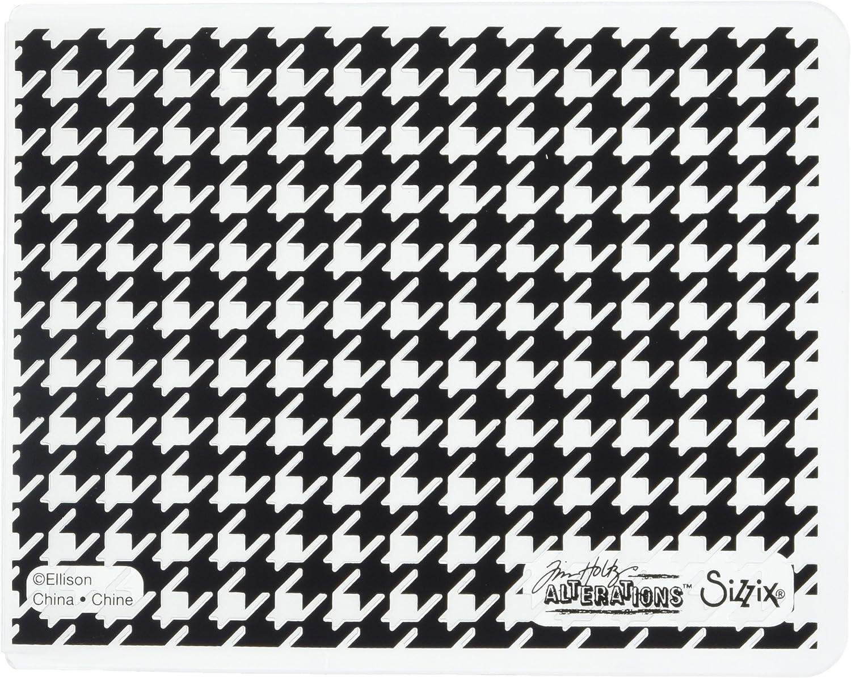 Mehrfarbig Plastik 19.5 x 12.8 x 0.4 cm Sizzix TFEF Hahnentrittmuster von Tim Holtz Pr/ägemappe