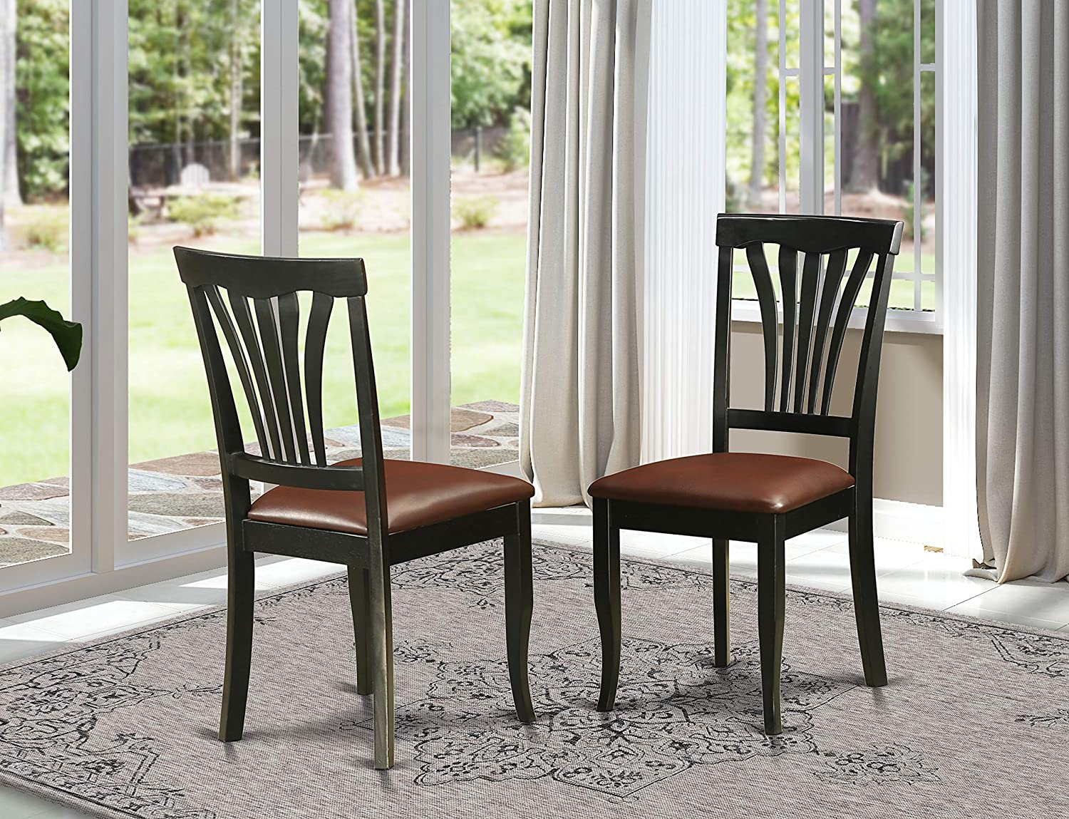 Avon Chair for dining room With Faux Leather Seat - BlackFinish