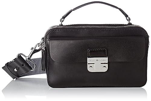 40b0684c743e Amazon.com  Tommy Hilfiger Womens Fashion Hardware Leather Mini X Over  Canvas and Beach Tote Bag Black (Black)  Shoes