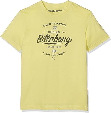 G.S.M. Europe - Billabong Boys Manga Corta Camiseta de Chopper Amarillo Dust Yellow: Amazon.es: Ropa y accesorios