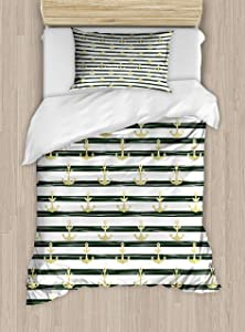 Ambesonne Anchor Duvet Cover Set, Horizontal Stripes Nautical Marine Cruise Ocean Trip, Decorative 2 Piece Bedding Set with 1 Pillow Sham, Twin Size, Brown White