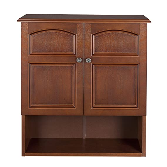 2 Door Over The Toilet Wall Mount Cabinet In Antique Mahogany