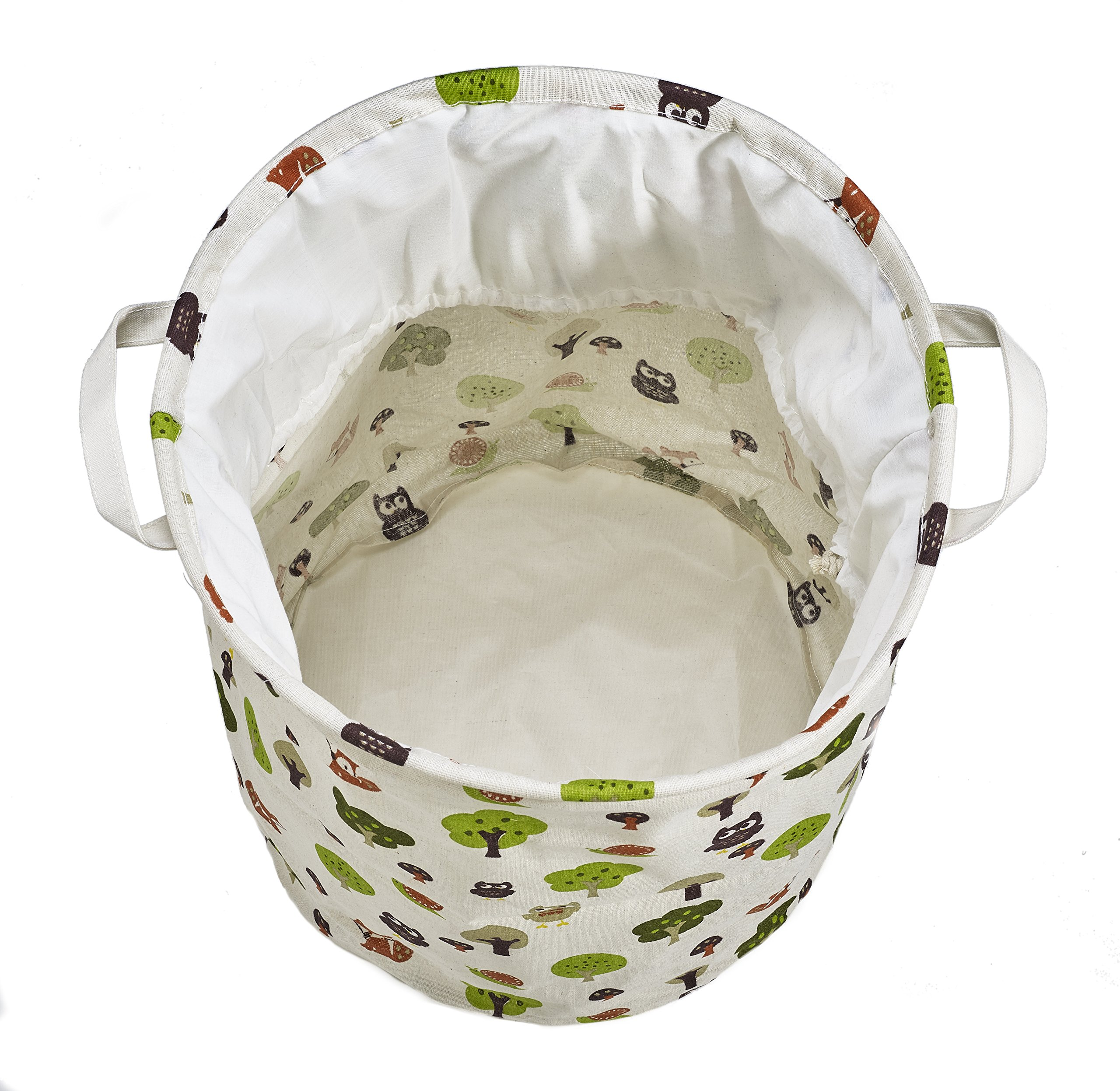 Org Store Cotton Fabric Collapsible Laundry Basket Dirty Clothes Hamper - Perfect for College Dorms, Kids Room & Bathroom (Forest Patterned) by Org Store (Image #3)