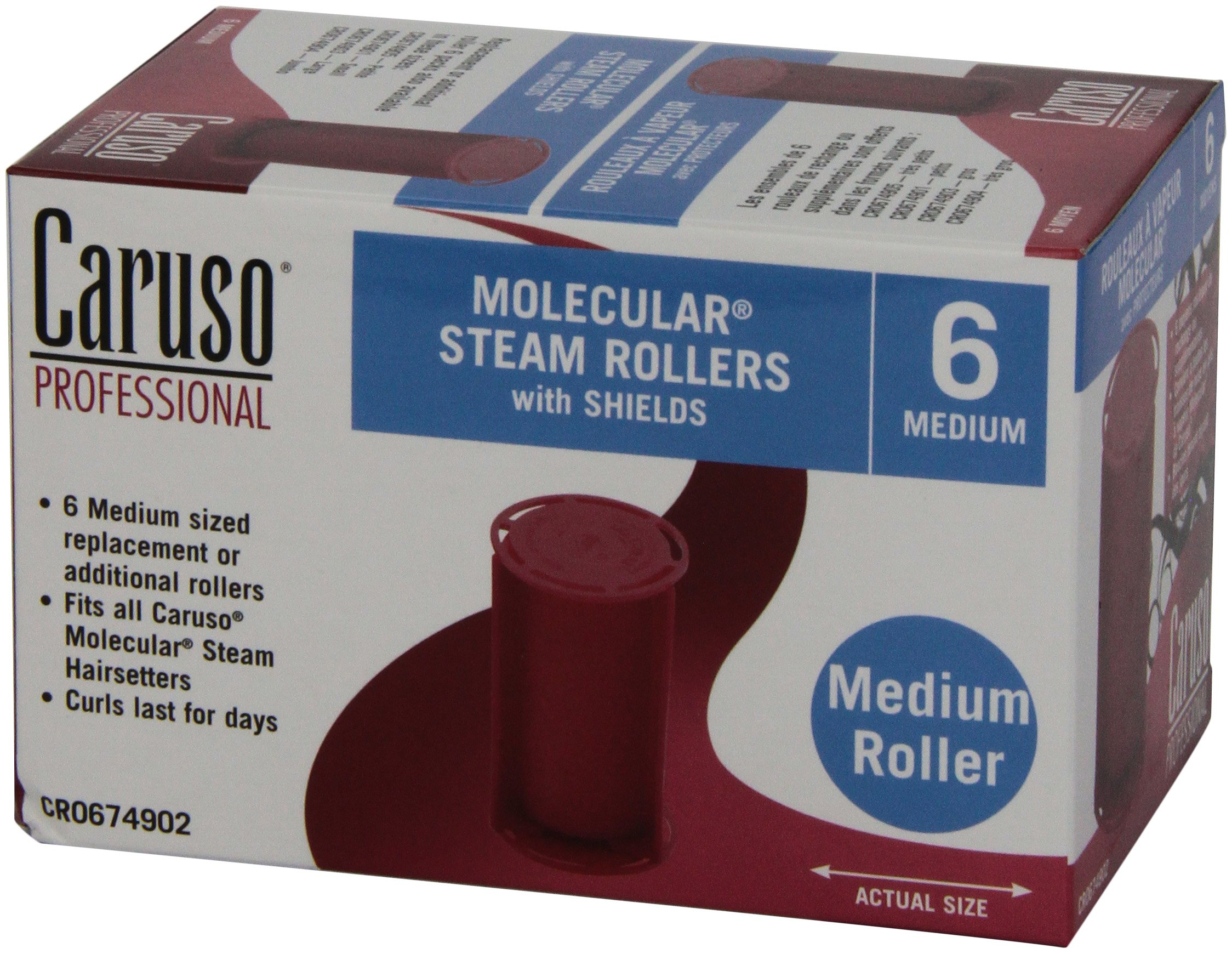 Caruso Professional Molecular Steam Rollers with Shields, Medium (6-Pack)