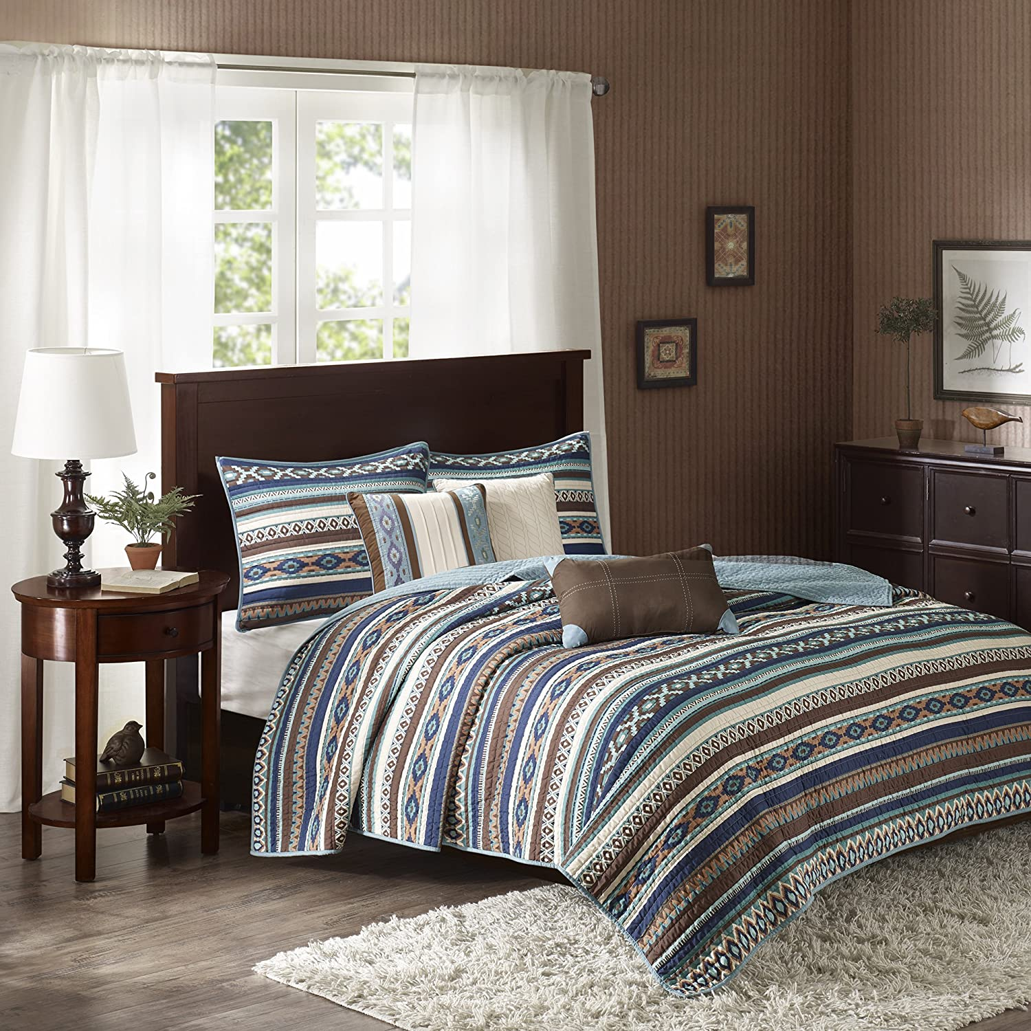 Madison Park Malone Full/Queen Size Quilt Bedding Set - Blue, Brown, Southwestern Pattern, Fair Isle – 6 Piece Bedding Quilt Coverlets