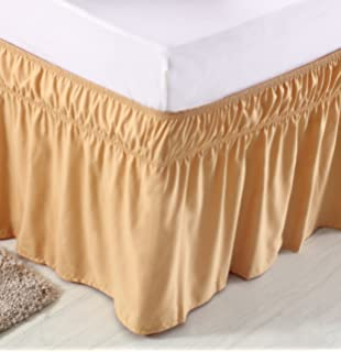 meila three fabric sides wrap around elastic solid bed skirt easy oneasy off