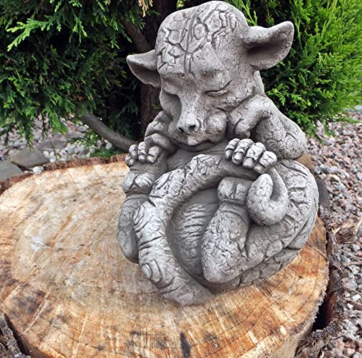 Figura de piedra en inglés Jardín Figura Dragón Dragón de bebé de piedra esmeralda: Amazon.es: Jardín