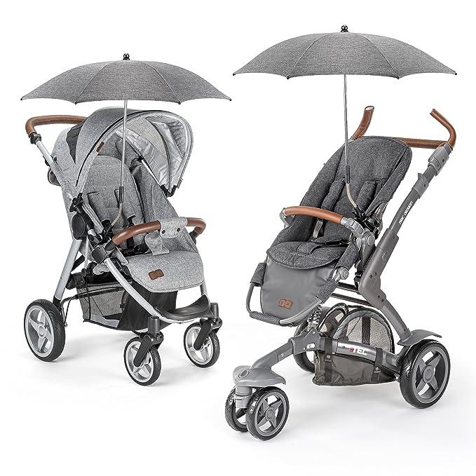 Zamboo - Sombrilla universal Carrito de bebé - Silla de paseo - Parasol flexible con soporte para tubos redondos y ovalados / Protección UV50+, 73 cm ...