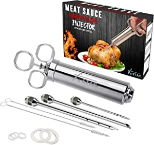 Meat Injector Syringe with Needle - Turkey Marinade Injector For BBQ Grill Smoker - 2 Oz Stainless Steel Marinade Meat Flavor Injector