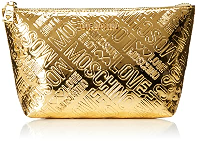 Damen Bustina Embossed Patent Pu Oro Clutch, Gold (Gold), 14x24x7 cm Love Moschino