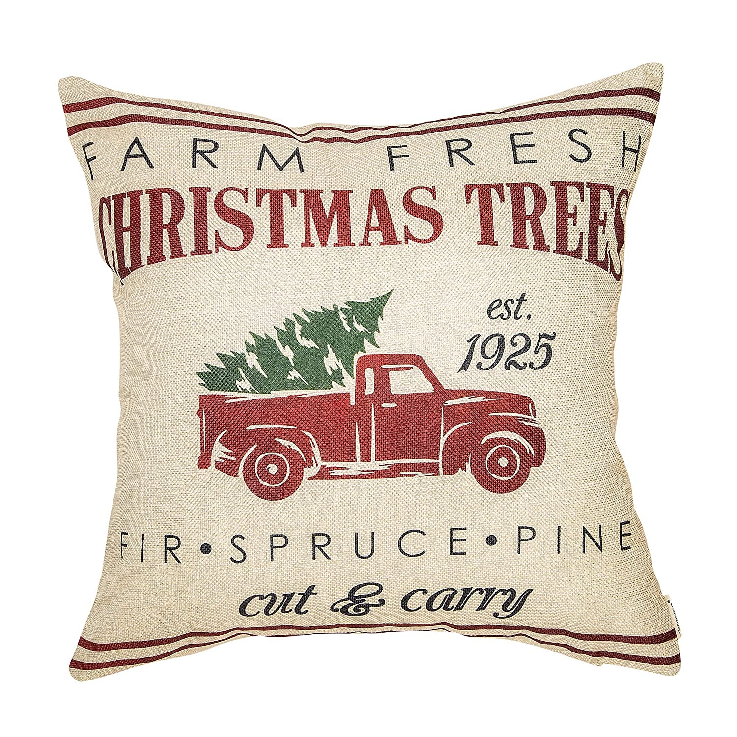 Fahrendom Rustic Farmhouse Style Farm Fresh Christmas Trees Red Vintage Truck with Trees Winter Holiday Sign Gift Cotton Linen Home Decorative Throw Pillow Case Cushion Cover with Words for Sofa Couch