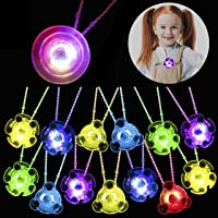 PROLOSO Light Up LED Necklaces Glow in The Dark Necklace Flashing Party Favors with Gyro Fidget Spiral Twister Toys 24…
