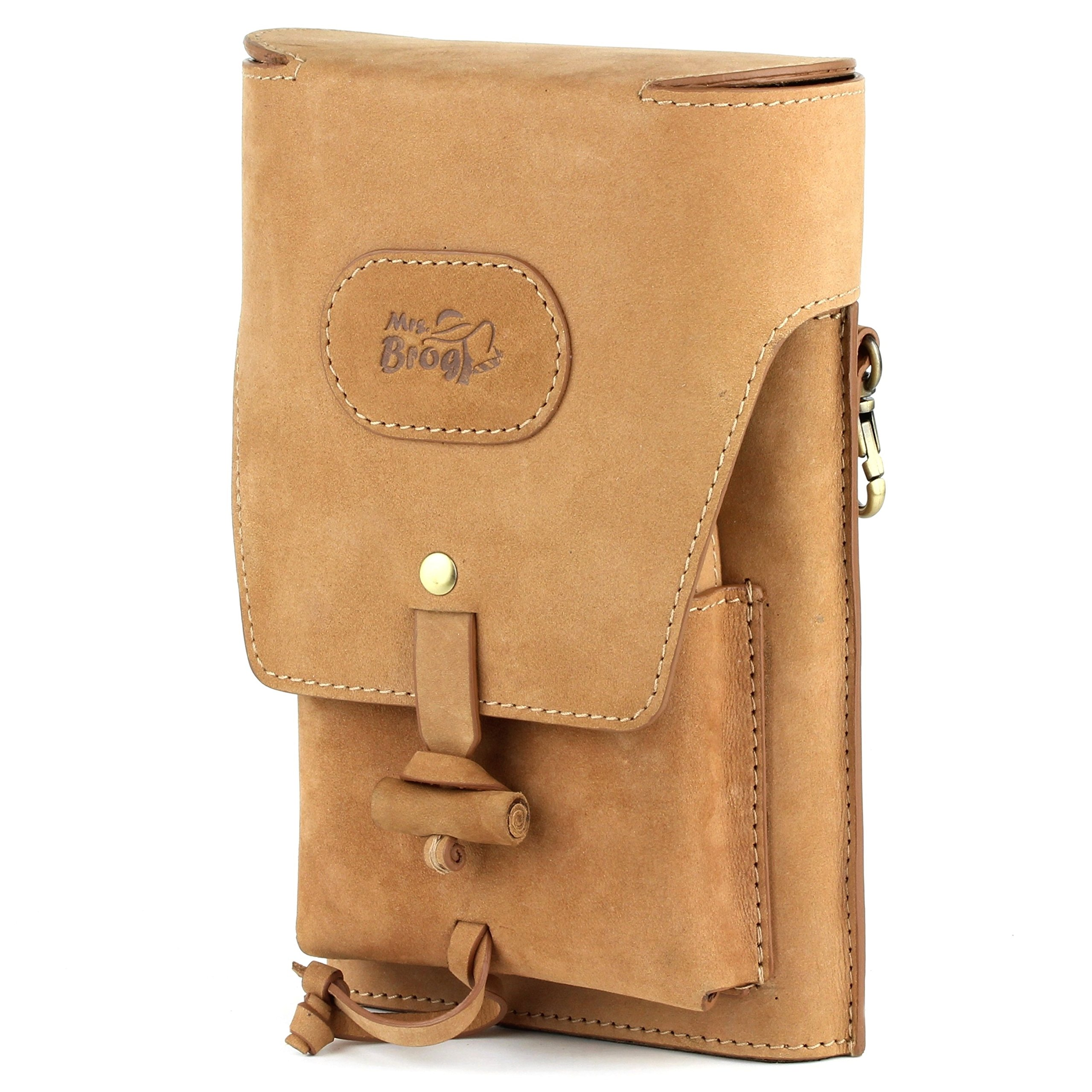 Hunting Cigar Humidor Case - Best Cigar Strap Hanger - Heavey Diesel Saddle Leather - [Tan]